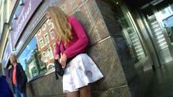 Hot Girl Upskirt Nice Dress Legs at Bus Stop
