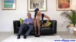 Amateur british babe enjoys old man cock